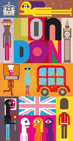 elizabeth tower: London - vector illustration. Art composition, collage with inscription London. Illustration