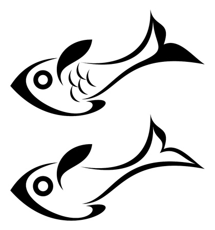 seafish: Fish - outline. Isolated icons on white background. Can be used as logotype.