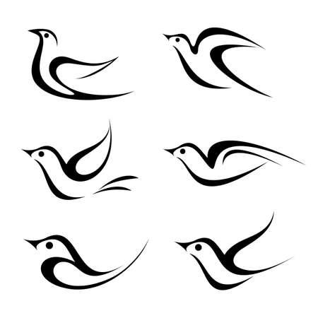 paloma caricatura: Establece Bird vector icono. Aislado negro sobre fondo blanco.