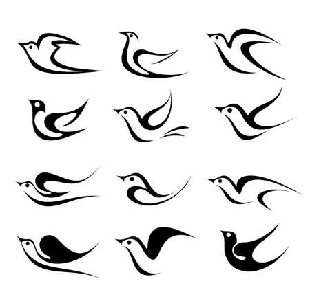 Bird vector icon set  Isolated black on white background   Vector