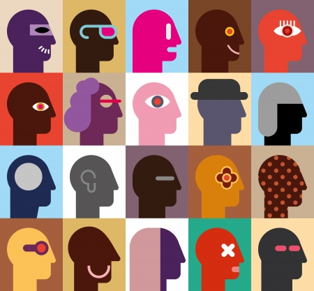 abstract portrait: Human Heads - abstract vector illustration  Can be used as seamless wallpaper