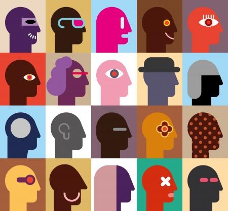 Human Heads - abstracte illustratie Kan worden gebruikt als naadloos behang
