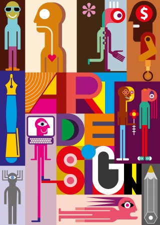 computer art: Art Design - vector illustration. Composition of various images with text Art Design.