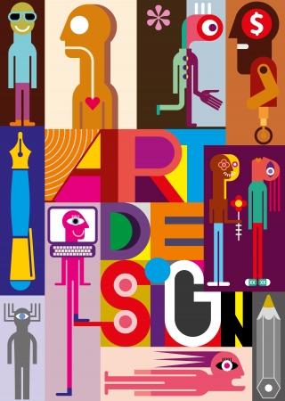 """arte abstracto: Diseño Art - ilustración vectorial. Composición de varias imágenes con el texto """"Design Art""""."""