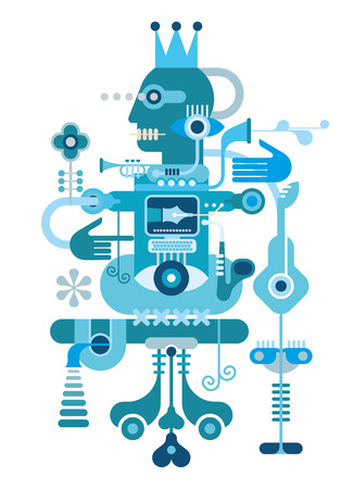 automat: Blue Abstract Composition - isolated vector illustration on white background.