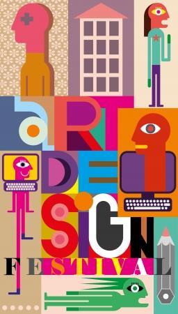 """Vecteur illustration en couleur. Composition de diverses images avec le texte """"Design Festival Art"""". Vecteurs"""