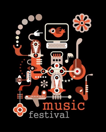 music machine: Music Festival - abstract vector illustration on black background. Artwork placard with text Music Festival.