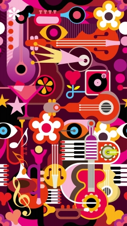 Abstract Music Background - seamless vector wallpaper. Collage with musical instruments. Vector