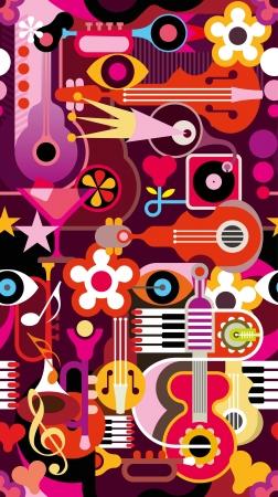 Samenvatting Muziek achtergrond - naadloze vector wall paper. Collage met muziekinstrumenten.