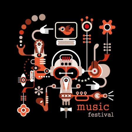 音楽祭 - 黒の背景に分離ベクトル イラスト。テキスト「音楽フェスティバル」とアートワーク プラカード。