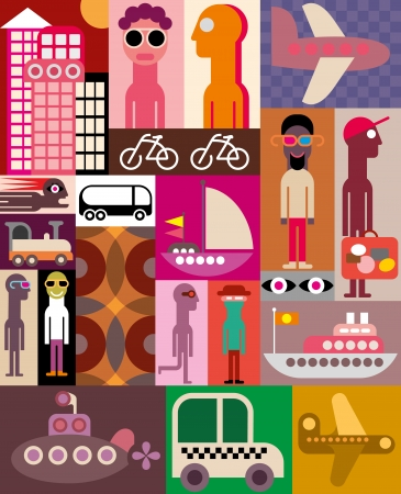 travel collage: Travel - collage of various images. Patchwork vector illustration. Illustration