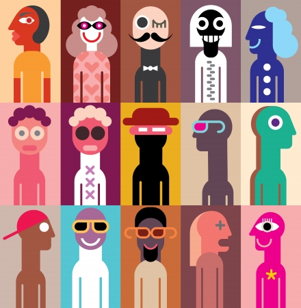 Group of people - vector illustration. Collage of different portraits.