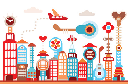 quay: Cityscape of future city. Fantastic illustration buildings  Illustration