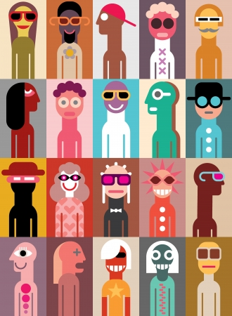 Large group of people illustration.  Vector