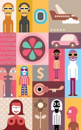 People - abstract collage.  Vector
