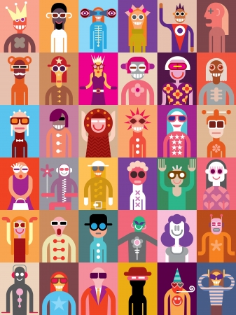human likeness: Large group of people. Art composition of abstract portraits - vector illustration. Can be used as seamless wallpaper.