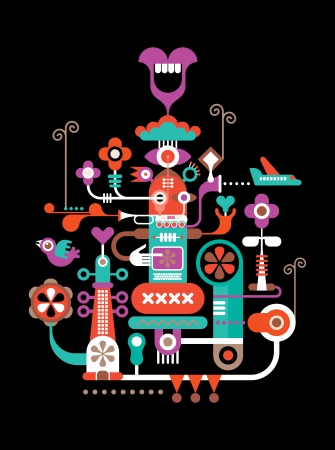 bizarre: Abstract vector figure composition on black background. Bizarre attraction.