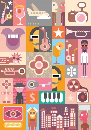 Collage of various images. Patchwork vector seamless wallpaper. Stock Vector - 24540748