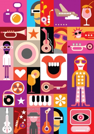 Party - vector collage. Patchwork seamless wallpaper. Stock Vector - 24540750