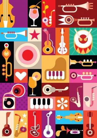 Muziek en Cocktail party - vector illustratie. Patchwork naadloze behang.