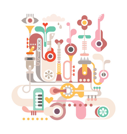 Abstract vector composition with musical instruments. Isolated on white background.  Vector