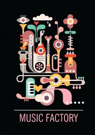 抽象芸術組成物。「音楽工場」のテキストとグラフィック デザイン。黒の背景に分離されたベクトルのイラスト。