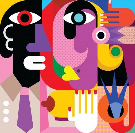 女性と男性 - ベクター グラフィックの抽象的な肖像画。現代美術。