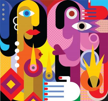 arte abstrata: Homem e mulher - ilustra��o do vetor. Refei��o rom�ntica. A arte abstrata. Ilustra��o