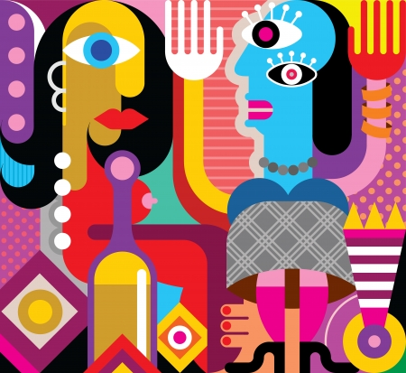 Two dancing women - abstract vector graphic. Fine art.