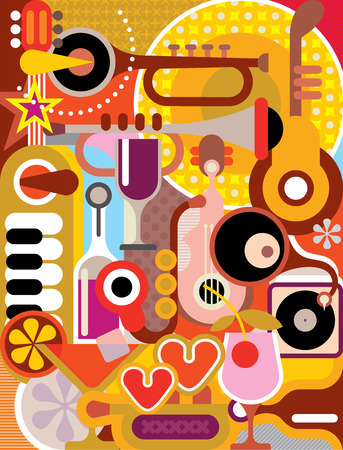 Music - vector illustration. Abstract composition with musical instruments and cocktail glasses. Vector