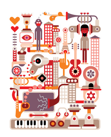 music machine: Music City - vector illustration on white background.
