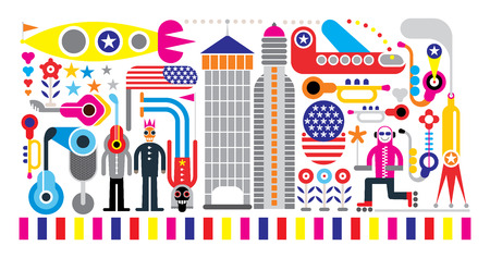 Festival - color vector illustration on white background. Vector