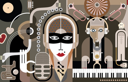 Concert of Modern Music - abstract vector illustration. Beautiful girl with mike singing song. A musician plays the piano keyboard. Vector