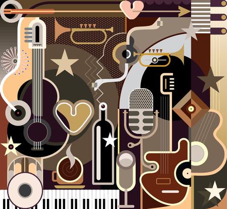 ベクトル イラスト - バック グラウンド ミュージックを抽象化します。楽器のコラージュします。  イラスト・ベクター素材