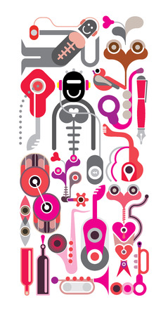 vertical composition: Abstract Music illustration - vector collage, vertical composition. Robot with headphones. Musical instrument icons on white.