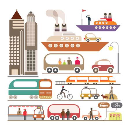 walkman: Modern City - vector illustration. Isolated on white background.