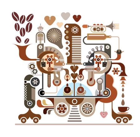 Koffie maken - vector illustratie. Koffie stof. Geïsoleerd op een witte achtergrond. Koffie fabriek. Stock Illustratie