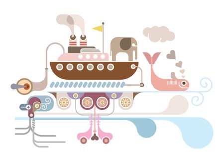 abstract vector: Fantastic Ocean Cruise - abstracte illustratie op een witte achtergrond. Stock Illustratie
