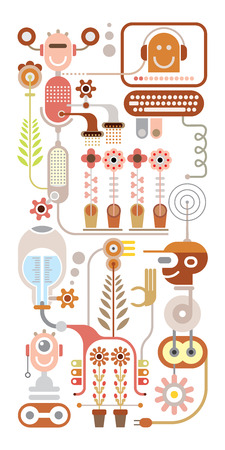 the greenhouse: Flowers laboratory - abstract vector illustration. Isolated on white background. Greenhouse. Illustration