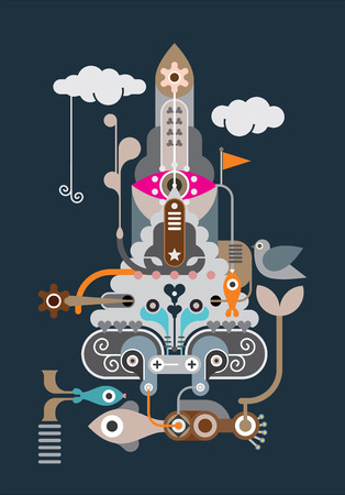 Fantastic Rocket - abstract vector figure on dark background. Spaceship. Vector