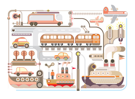 Travel and Journey - vector illustration. Mode of transport. Vector