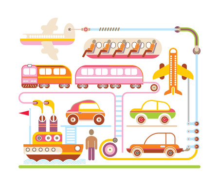 Mode of transport - color vector illustration on white background. Vector