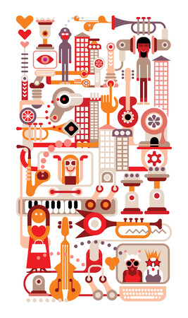 Music City - vector illustration on white background. Vector
