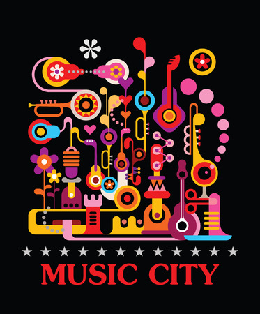 """검은 배경에 추상 미술 벡터 조성. 텍스트 """"음악 도시""""와 그래픽 디자인입니다. 일러스트"""