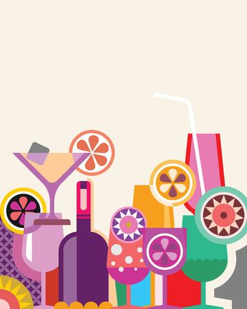 cocktail straw: Bottle and cocktail glasses on light background - vector illustration. Illustration
