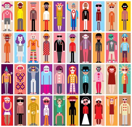 Mozaïek portretten - grote groep mensen in maskerade kostuums.