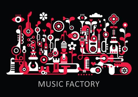 """arte abstracto: Composición de arte abstracto. Diseño gráfico con el texto """"Music Factory"""". Ilustración vectorial de color rojo y blanco sobre fondo negro."""