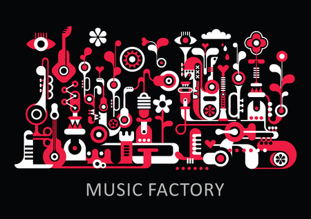 Abstract art composition. Graphic design with text Music Factory. Isolated red and white vector illustration on black background.