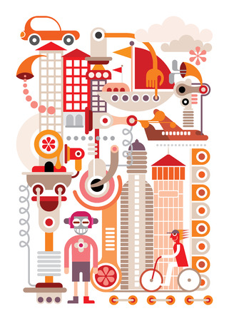 Cityscape - isolated vector illustration on white Vector