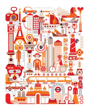 旅行 - 分離ベクトル イラスト ・白い背景の上。グラフィック アート デザイン。  イラスト・ベクター素材